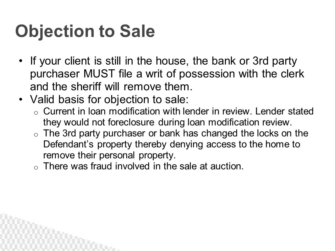 Objection to Sale