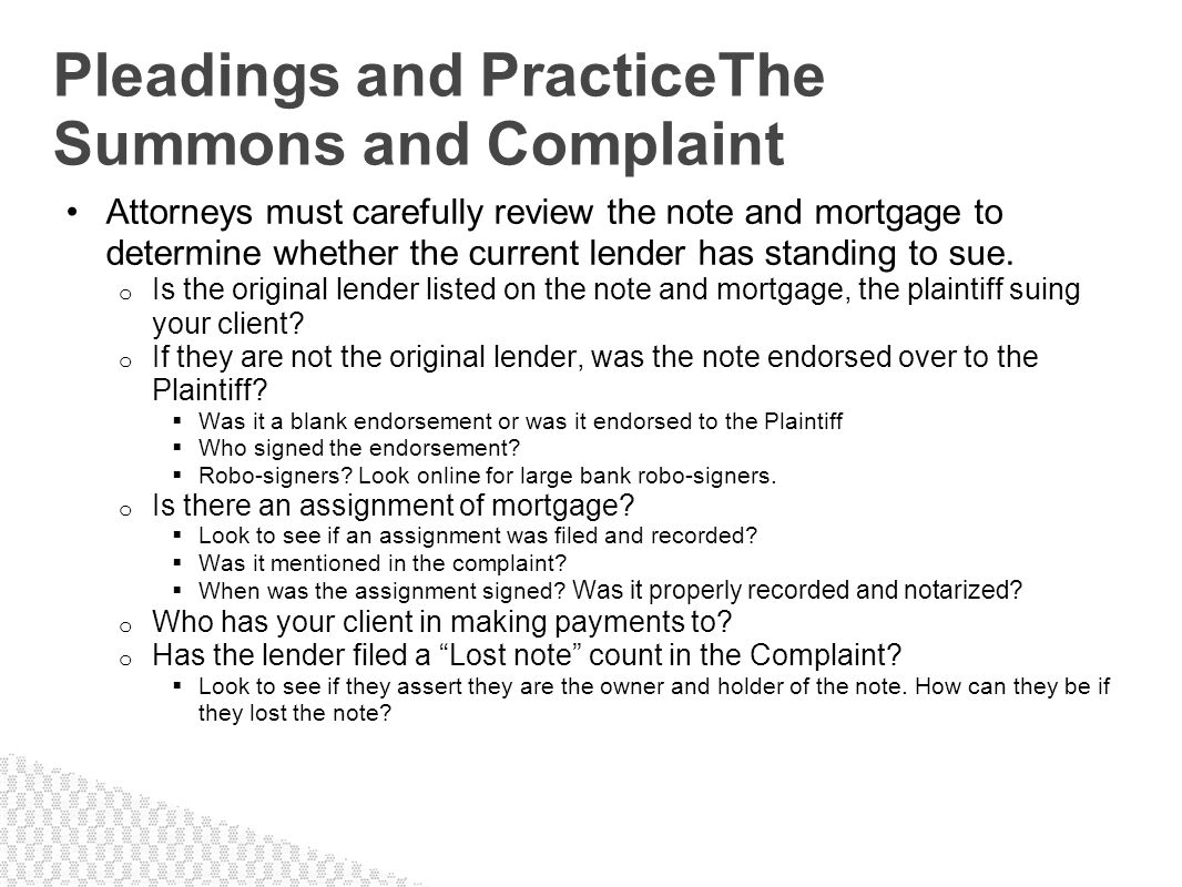 Pleadings and PracticeThe Summons and Complaint