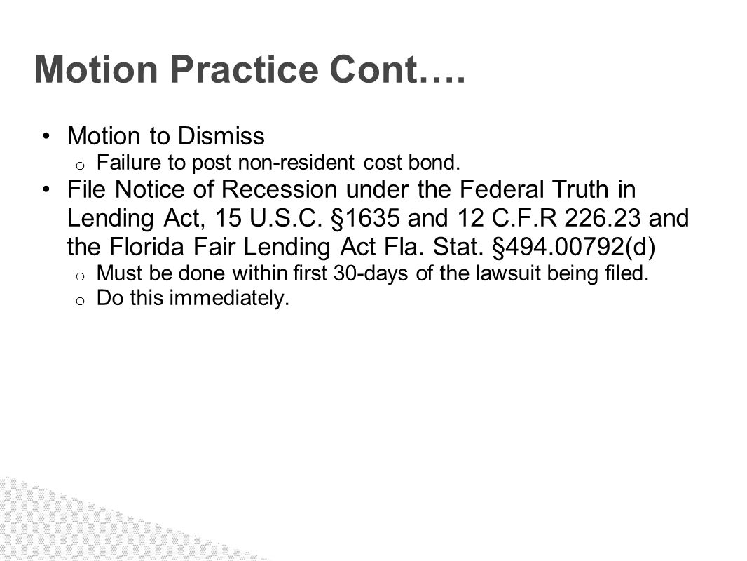 Motion Practice Cont…. Motion to Dismiss