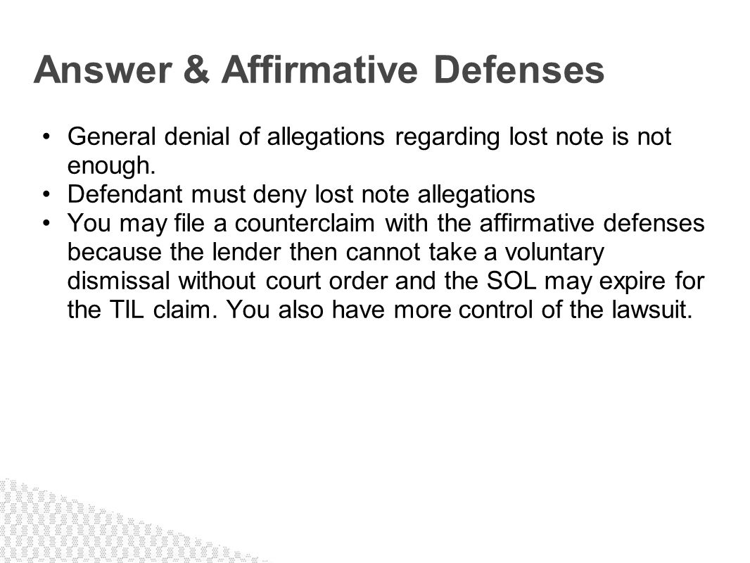 Answer & Affirmative Defenses