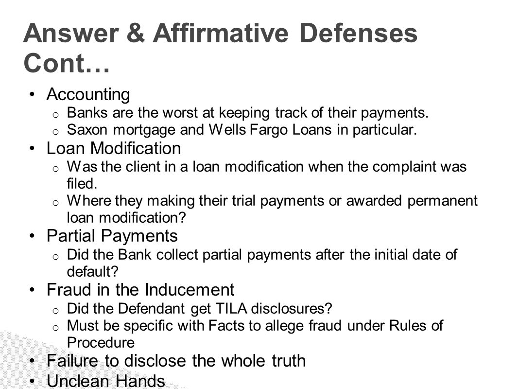 Answer & Affirmative Defenses Cont…