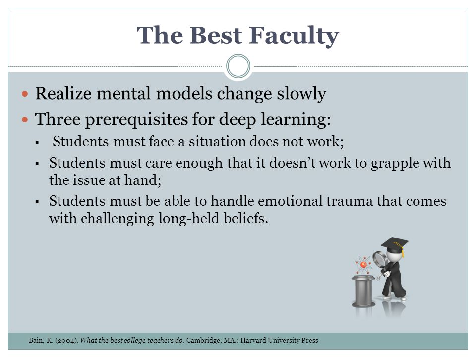 The Best Faculty Realize mental models change slowly