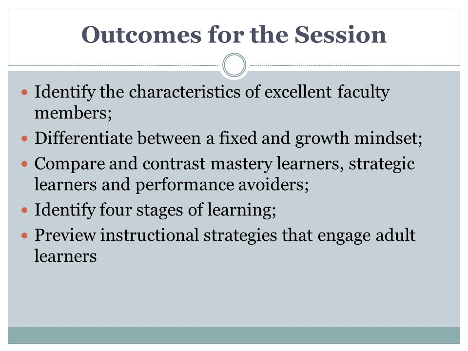 Outcomes for the Session