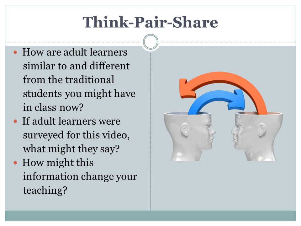 Think-Pair-Share How are adult learners similar to and different