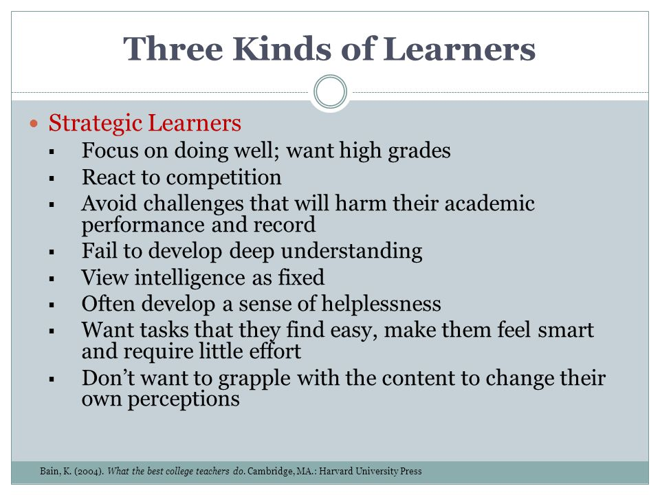 Three Kinds of Learners