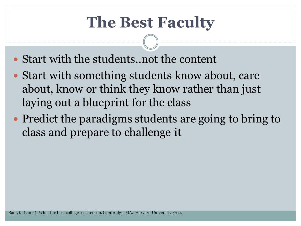 The Best Faculty Start with the students..not the content