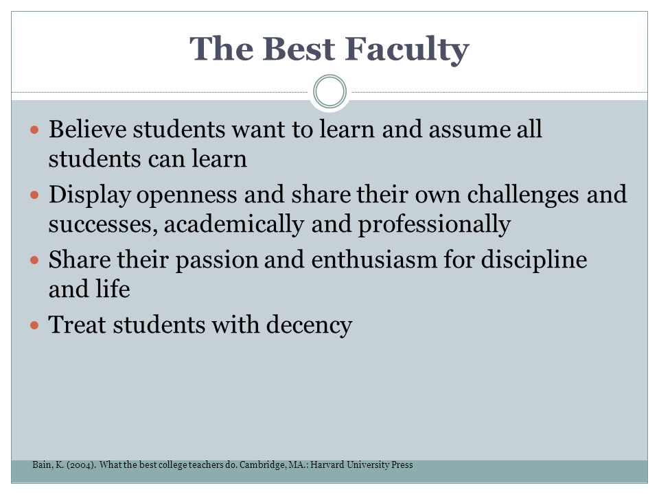 The Best Faculty Believe students want to learn and assume all students can learn.