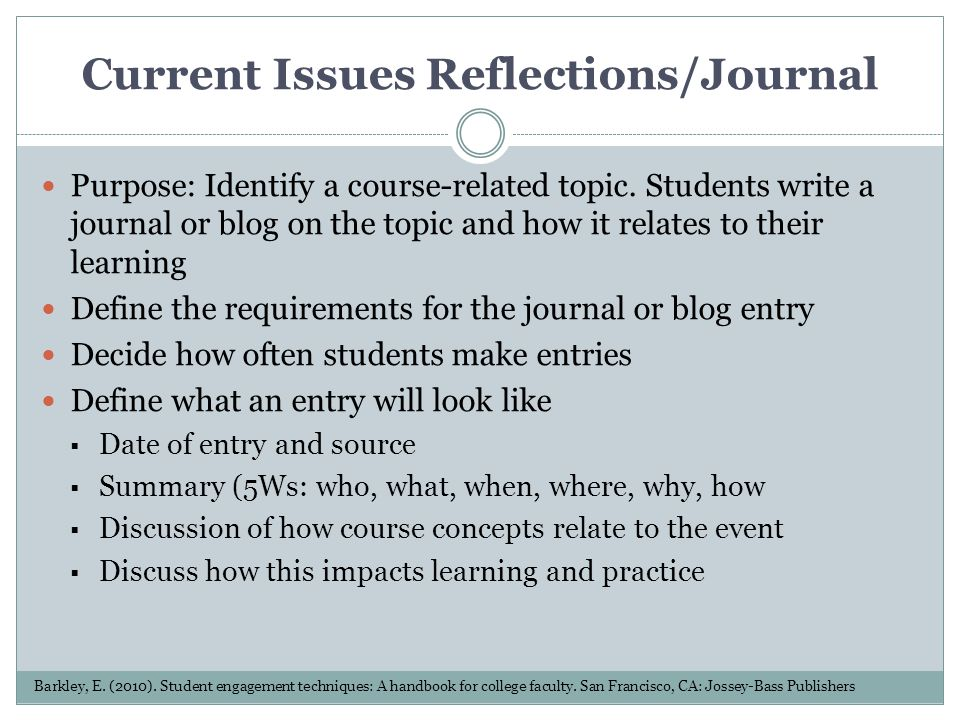 Current Issues Reflections/Journal