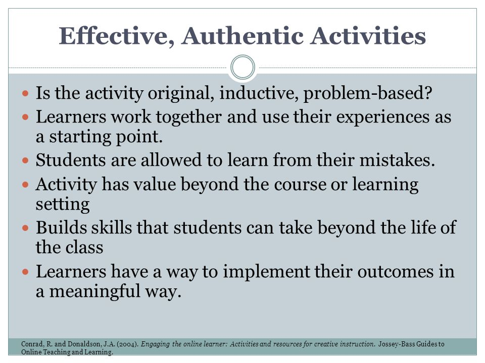 Effective, Authentic Activities