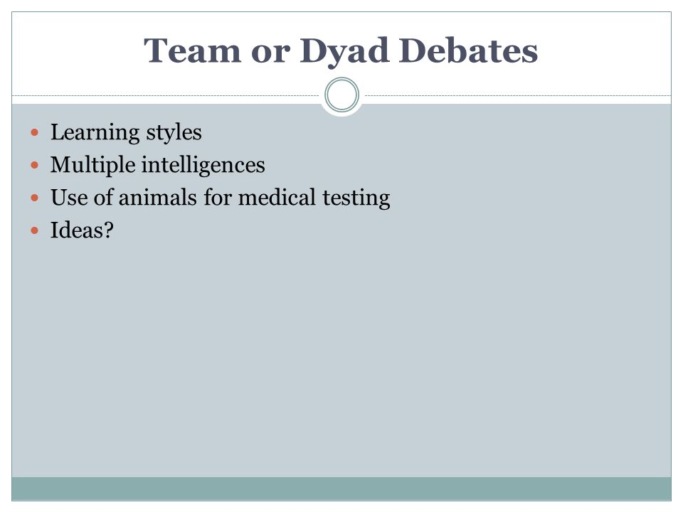 Team or Dyad Debates Learning styles Multiple intelligences