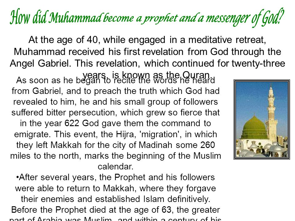 How did Muhammad become a prophet and a messenger of God