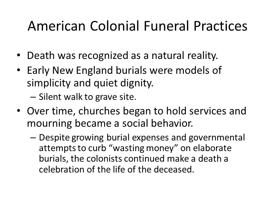 American Colonial Funeral Practices