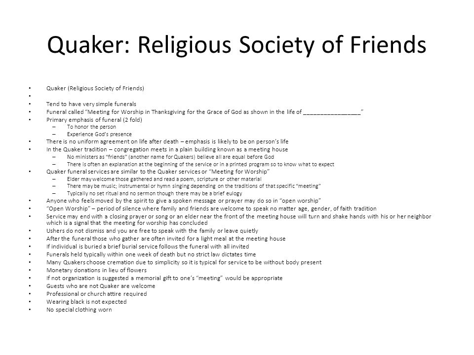 Quaker: Religious Society of Friends
