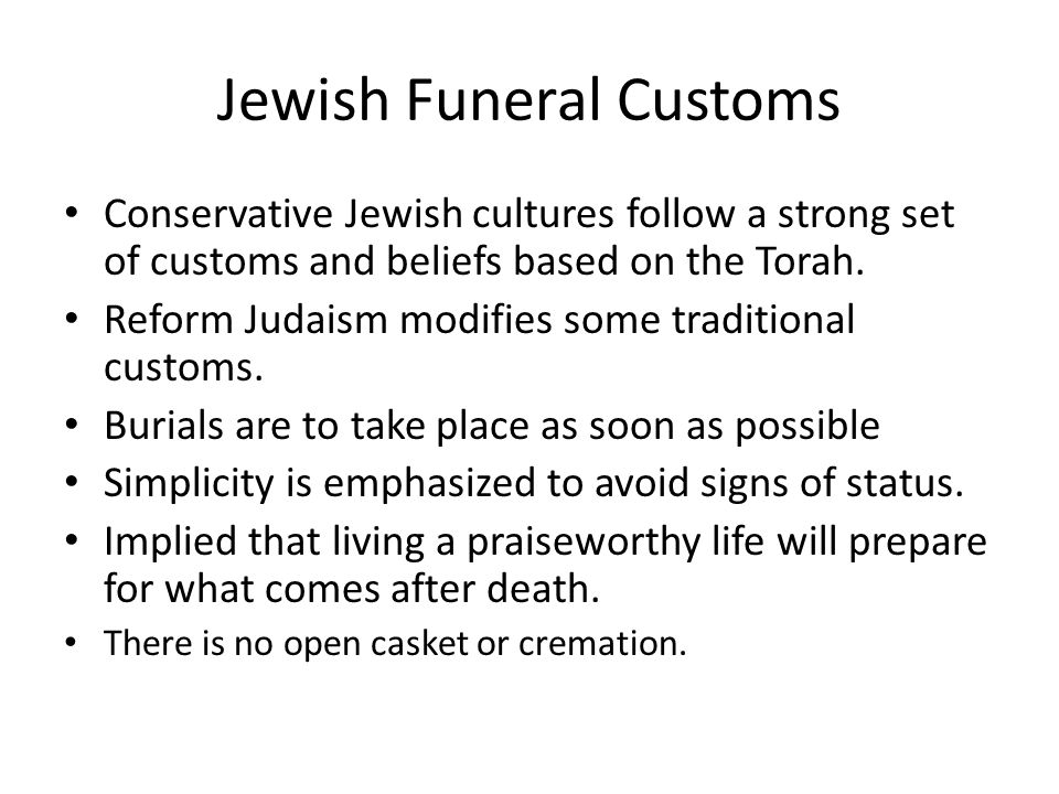 an analysis of the burial rituals in judaism religion Judaism, islam, and christianity, free study guides and book notes including comprehensive chapter analysis and practices both religions accept the jewish.