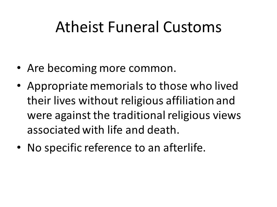 Atheist Funeral Customs