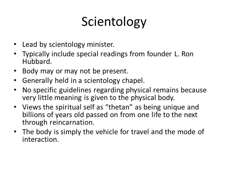 Scientology Lead by scientology minister.
