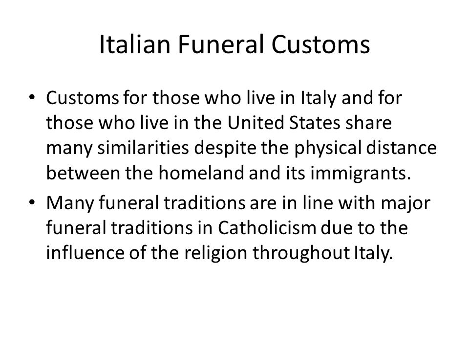 Italian Funeral Customs