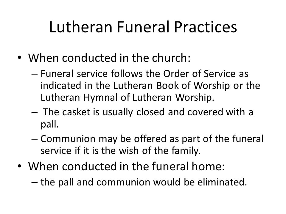 Lutheran Funeral Practices