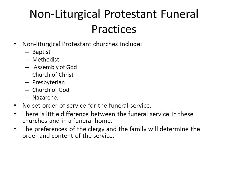 Non-Liturgical Protestant Funeral Practices