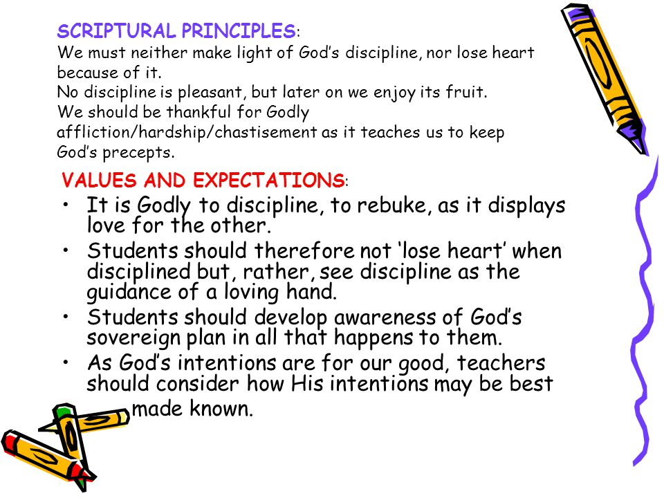 SCRIPTURAL PRINCIPLES: We must neither make light of God's discipline, nor lose heart because of it. No discipline is pleasant, but later on we enjoy its fruit. We should be thankful for Godly affliction/hardship/chastisement as it teaches us to keep God's precepts.