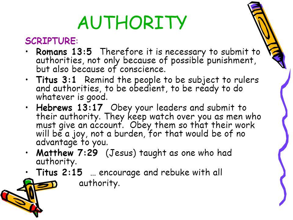 AUTHORITY SCRIPTURE: