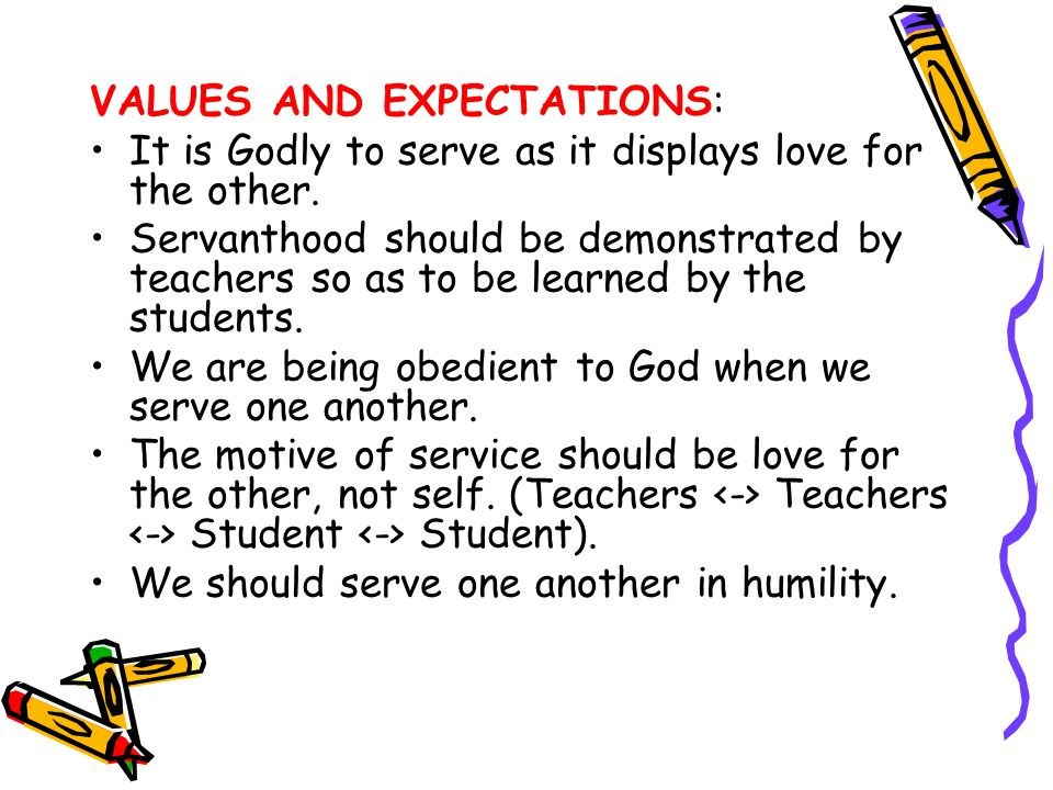 VALUES AND EXPECTATIONS: