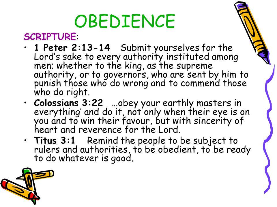 OBEDIENCE SCRIPTURE: