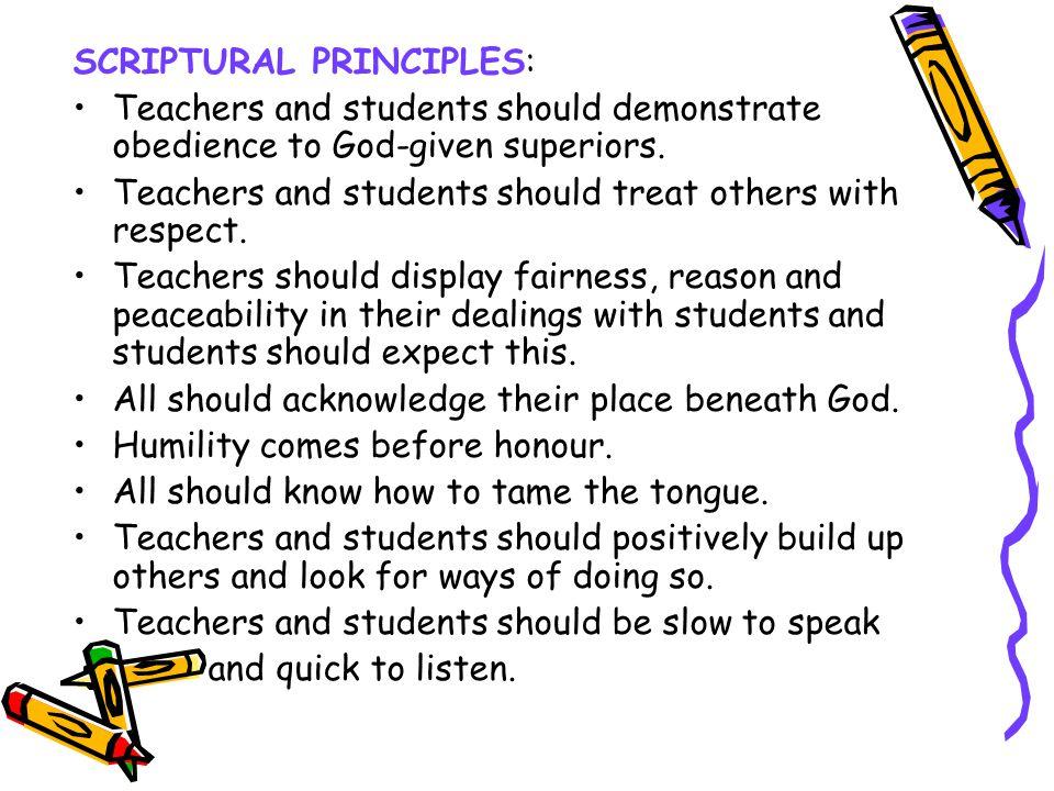SCRIPTURAL PRINCIPLES: