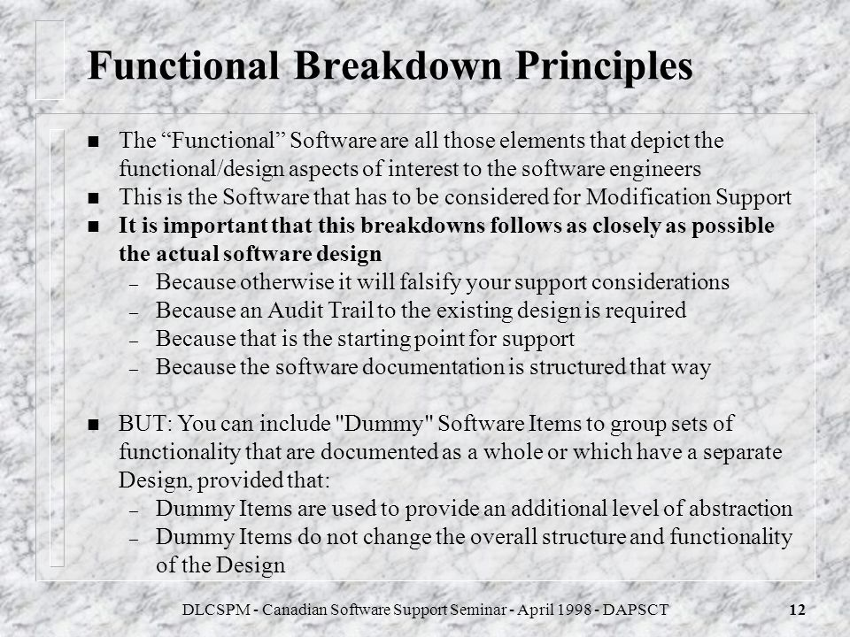 Functional Breakdown Principles