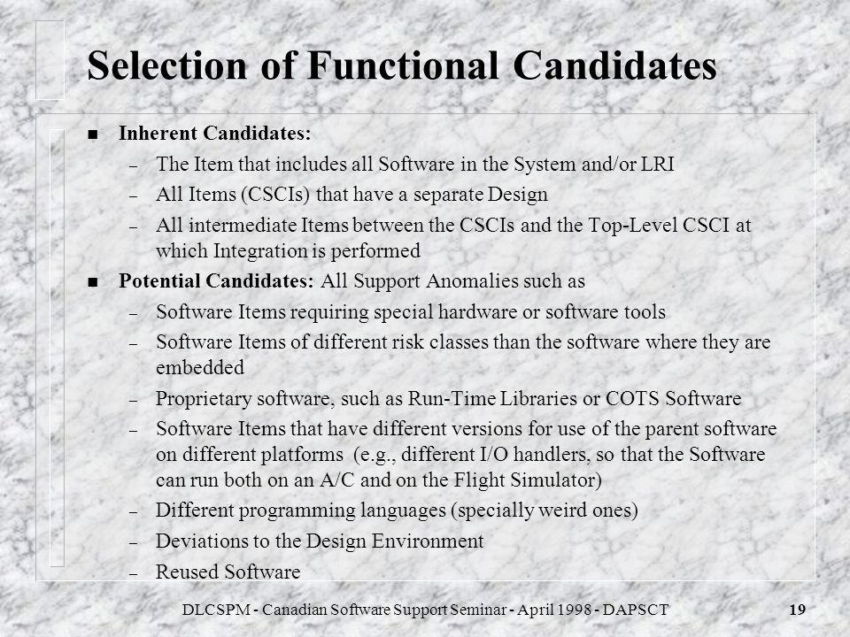Selection of Functional Candidates