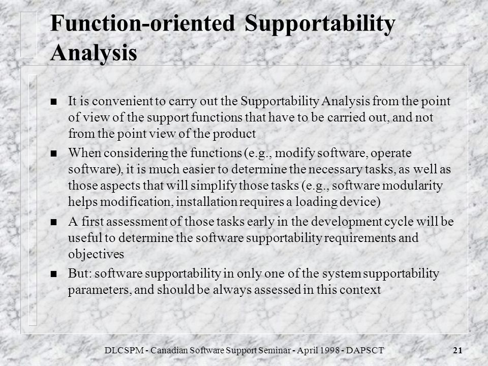 Function-oriented Supportability Analysis