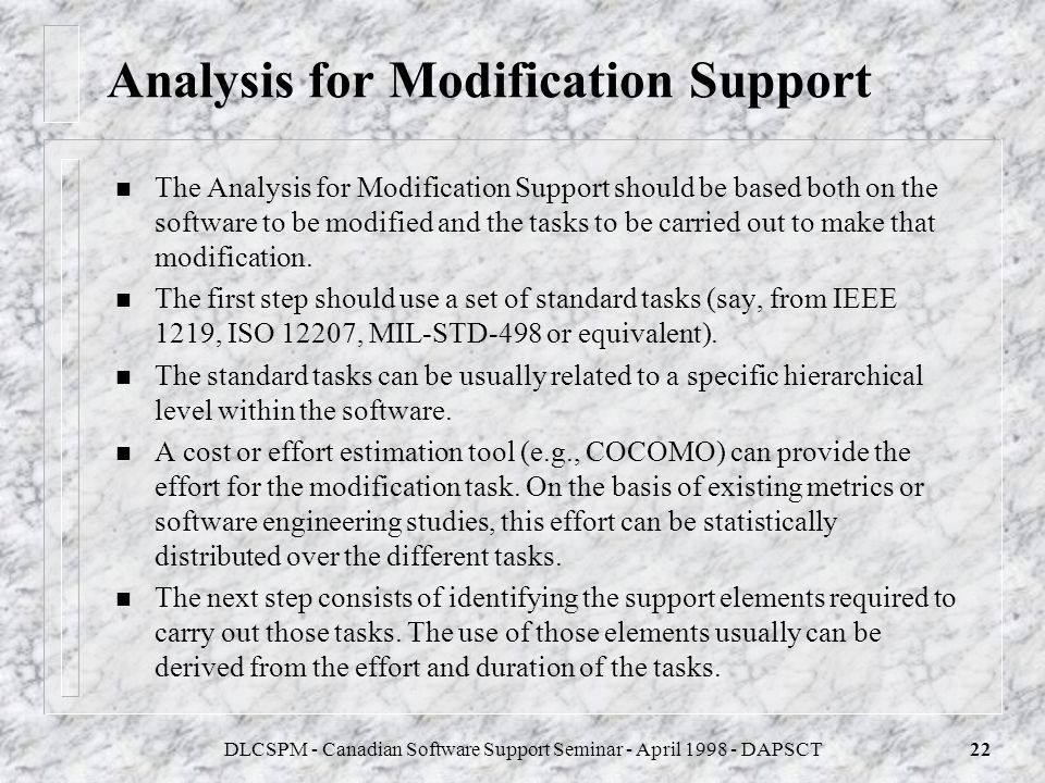 Analysis for Modification Support