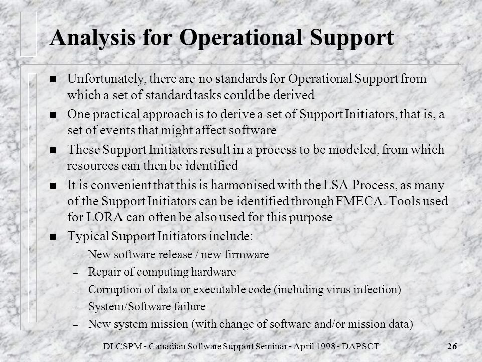 Analysis for Operational Support