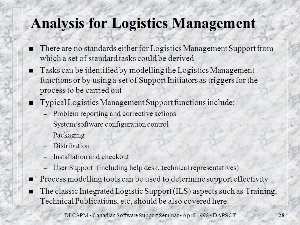Analysis for Logistics Management