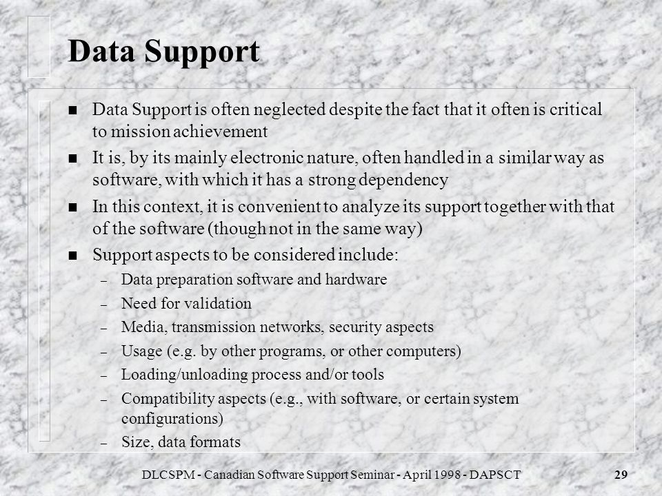DLCSPM - Canadian Software Support Seminar - April 1998 - DAPSCT