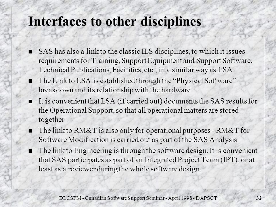 Interfaces to other disciplines