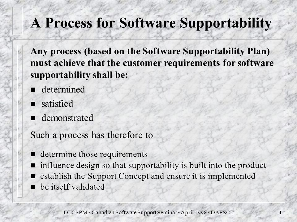 A Process for Software Supportability