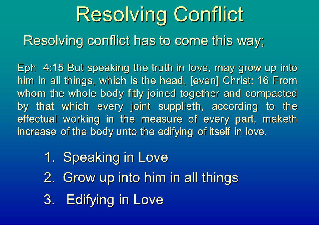 Resolving Conflict Resolving conflict has to come this way;