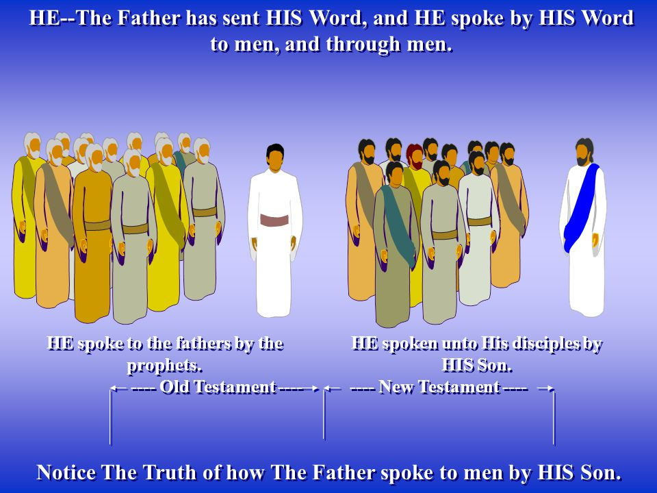 Notice The Truth of how The Father spoke to men by HIS Son.