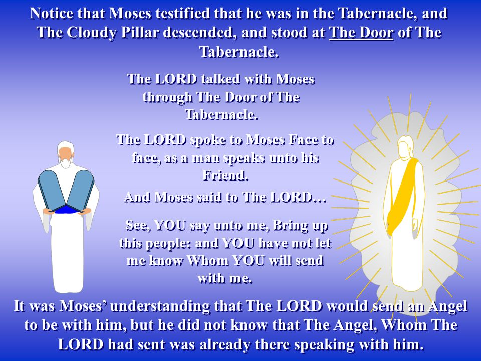 Notice that Moses testified that he was in the Tabernacle, and The Cloudy Pillar descended, and stood at The Door of The Tabernacle.