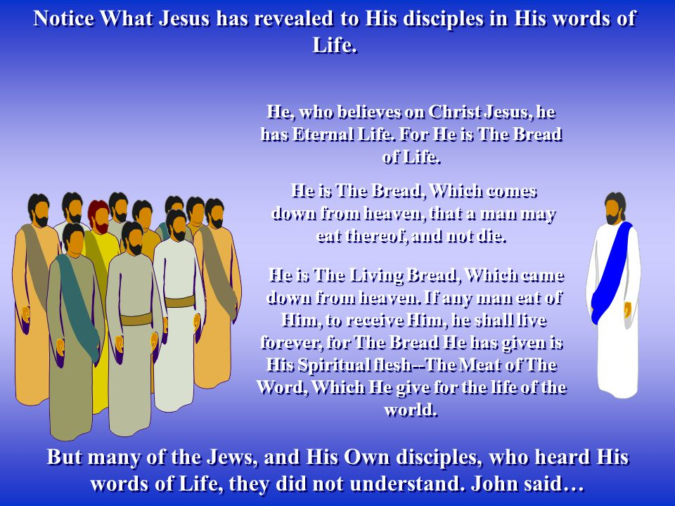 Notice What Jesus has revealed to His disciples in His words of Life.