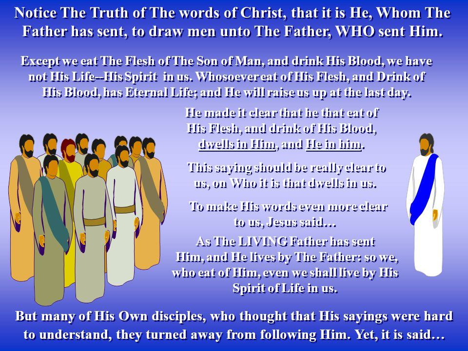 Notice The Truth of The words of Christ, that it is He, Whom The Father has sent, to draw men unto The Father, WHO sent Him.