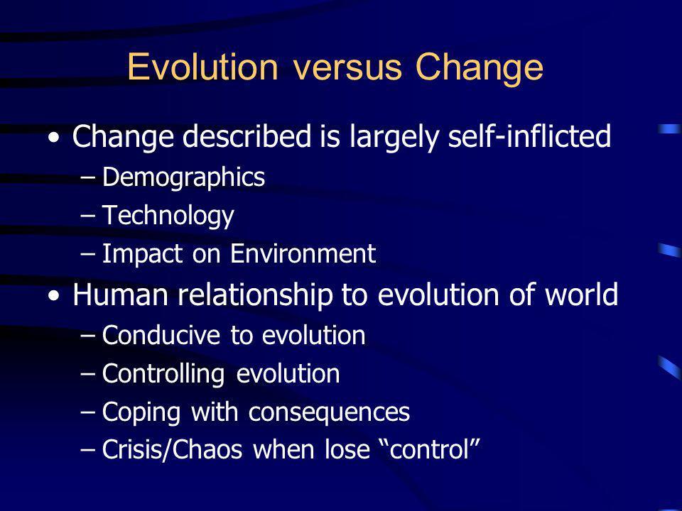 Evolution versus Change