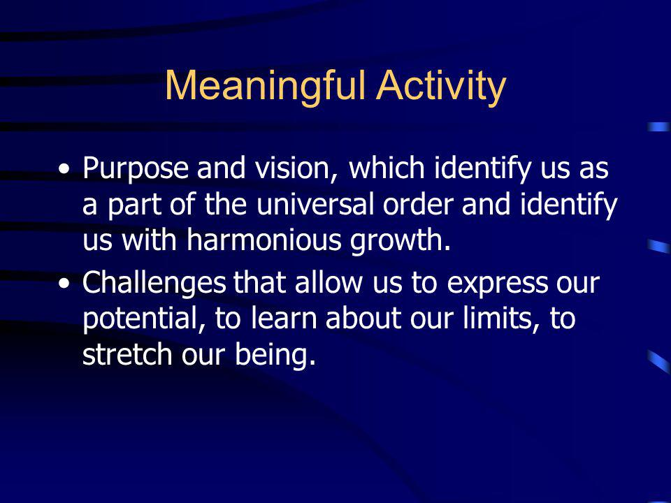 Meaningful Activity Purpose and vision, which identify us as a part of the universal order and identify us with harmonious growth.