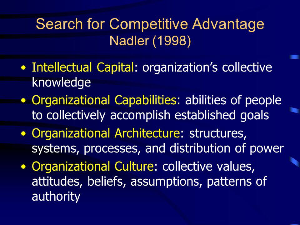 Search for Competitive Advantage Nadler (1998)