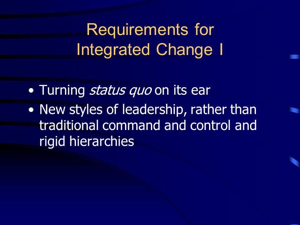 Requirements for Integrated Change I
