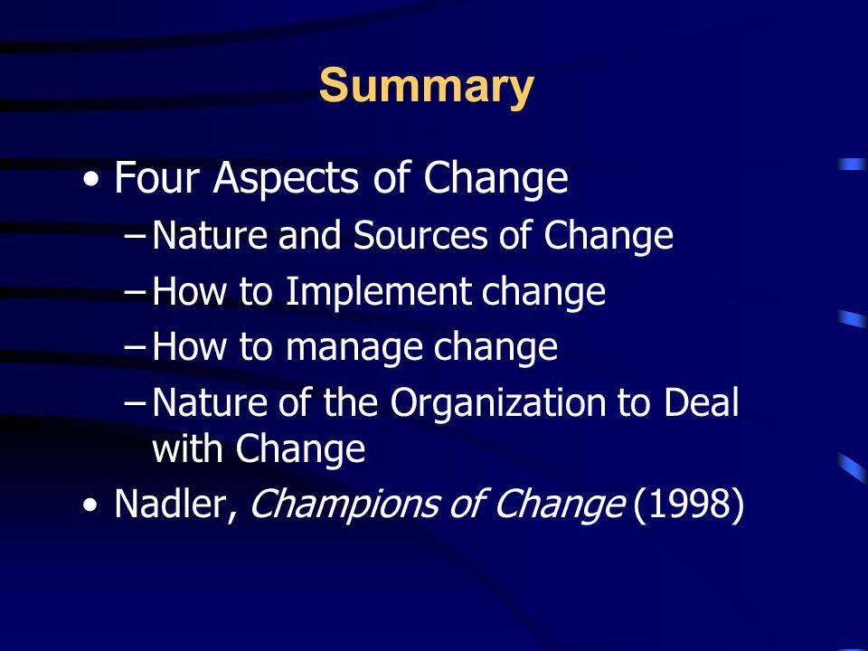 Summary Four Aspects of Change Nature and Sources of Change