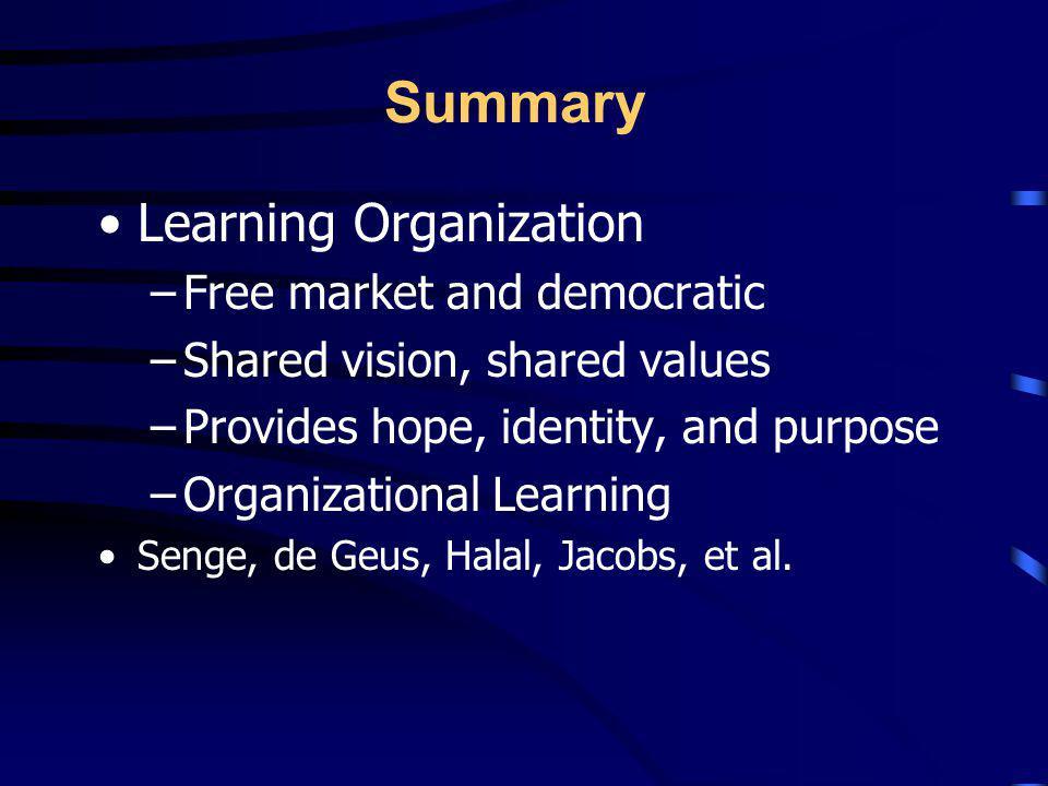 Summary Learning Organization Free market and democratic