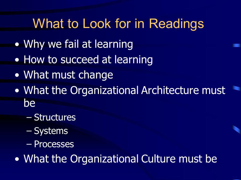 What to Look for in Readings