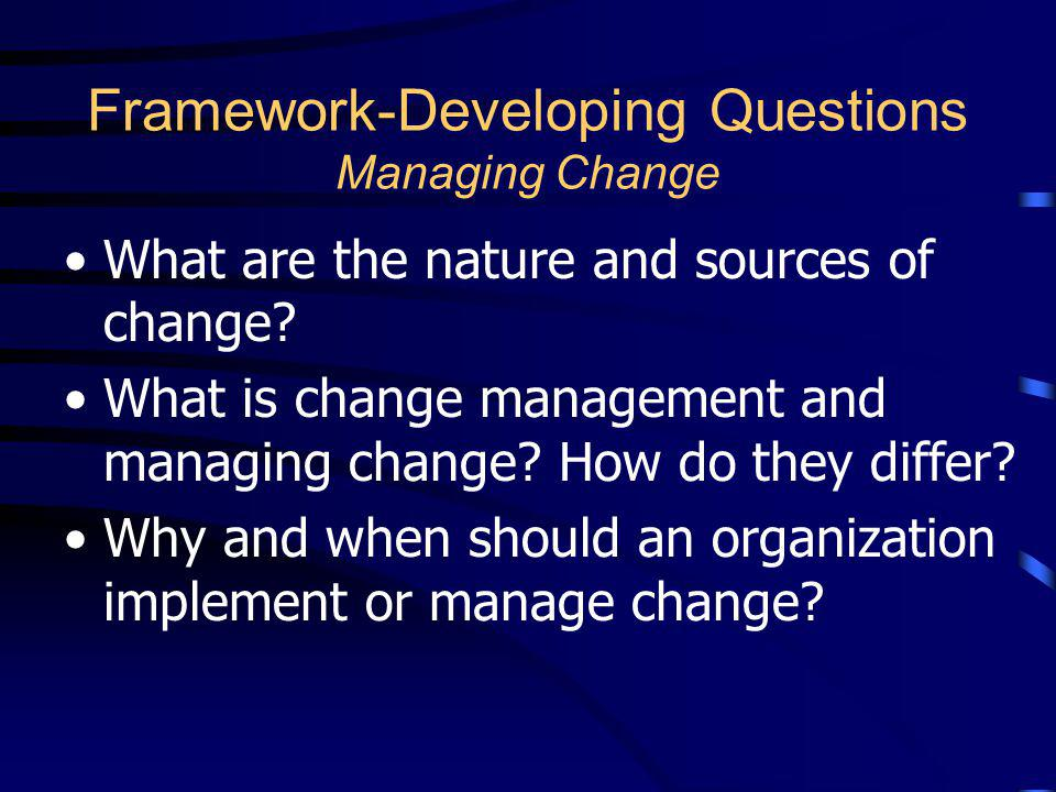 Framework-Developing Questions Managing Change